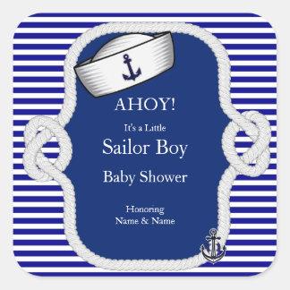 Raya de azules marinos del muchacho del gorra del pegatina cuadrada