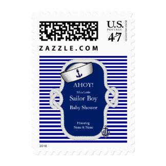 Raya de azules marinos del muchacho del gorra del timbre postal