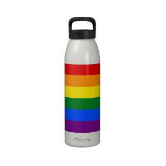 Raya de la bandera del arco iris del orgullo gay d botella de agua
