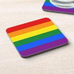 Raya de la bandera del arco iris del orgullo gay d posavasos de bebidas