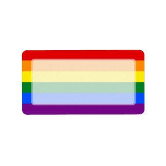Raya de la bandera del arco iris del orgullo gay etiquetas de dirección