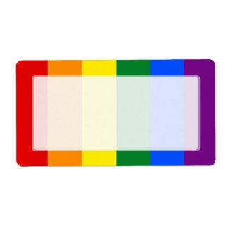 Raya de la bandera del arco iris del orgullo gay etiquetas de envío