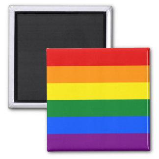 Raya de la bandera del arco iris del orgullo gay imán cuadrado