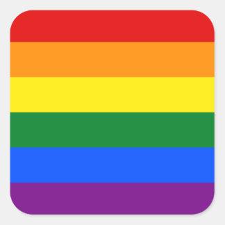 Raya de la bandera del arco iris del orgullo gay pegatina cuadrada