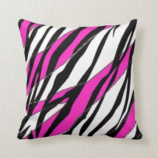Raya de la cebra y rayas abstractas rosadas de neó cojin
