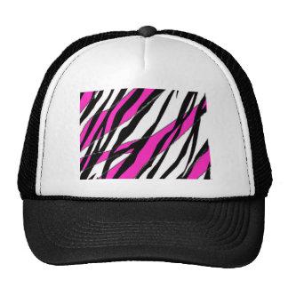 Raya de la cebra y rayas abstractas rosadas de neó gorro