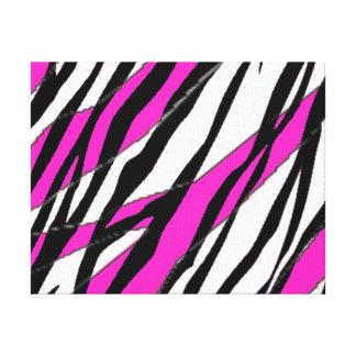 Raya de la cebra y rayas abstractas rosadas de neó impresiones en lienzo estiradas