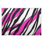 Raya de la cebra y rayas abstractas rosadas de neó manteles individuales