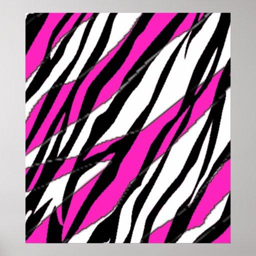 Raya de la cebra y rayas abstractas rosadas de neó poster
