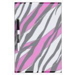 Raya de la cebra y rayas abstractas rosadas de neó pizarras blancas
