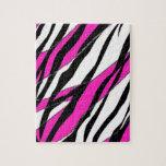 Raya de la cebra y rayas abstractas rosadas de neó rompecabeza