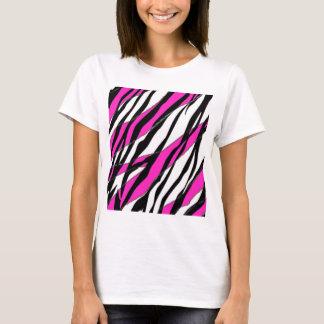 Raya de la cebra y rayas abstractas rosadas de playera