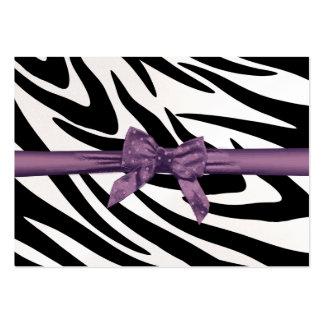 Raya de la cebra y tarjeta púrpura del asiento de tarjetas de visita grandes