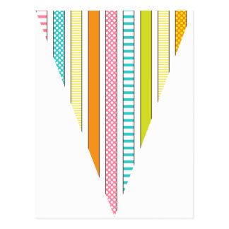 Raya de la diversión y empavesado colorido de la tarjetas postales