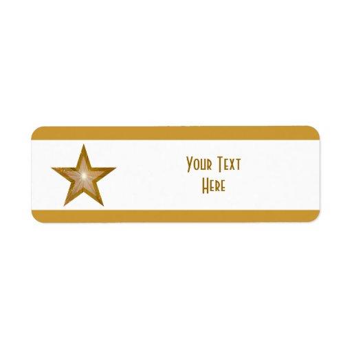 Raya de la estrella del oro pequeño blanco de la e etiqueta de remite