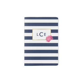 Raya de la marina de guerra y caja rosada del porta pasaporte