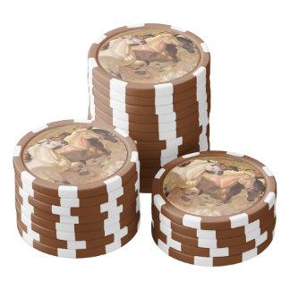 Raya de la precipitación de la manada del mustango juego de fichas de póquer