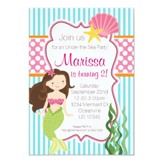 Raya de la turquesa, sirena rosada del Brunette Invitación Personalizada