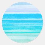 Raya de Ombre de la acuarela del trullo del azul Etiqueta Redonda
