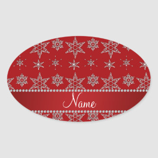 Raya de plata roja conocida personalizada del rojo pegatina ovalada