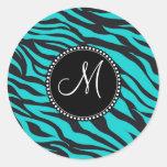 Raya del animal salvaje del estampado de zebra del etiqueta redonda