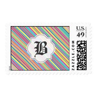 Raya del caramelo - monograma de encargo del texto sellos postales