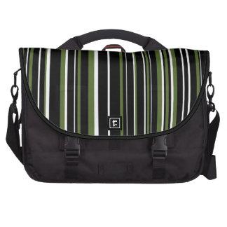 Raya del código de barras del verde negro, blanco, bolsas para portátil