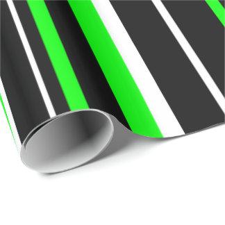 Raya del negro, del verde lima, y blanca papel de regalo