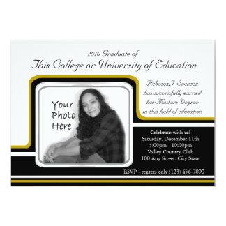 """Raya del oro de la graduación de la foto invitación 5"""" x 7"""""""