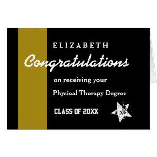 Raya del oro de la terapia física de la tarjeta de felicitación