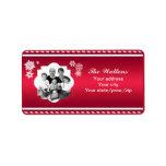 Raya del rojo de la foto de familia del navidad etiquetas de dirección