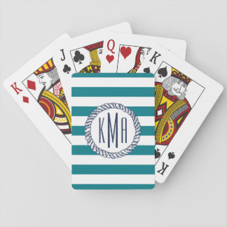 Raya del trullo de la casa de playa y monograma barajas de cartas