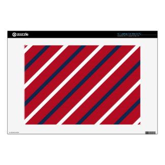 Raya diagonal del rojo, blanca y azul portátil calcomanías