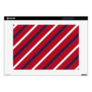 Raya diagonal del rojo, blanca y azul portátil skin