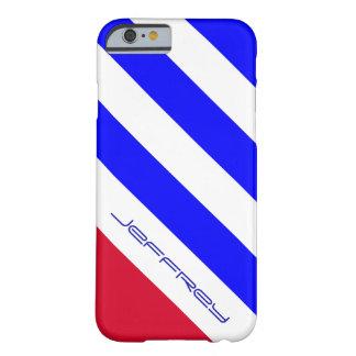 raya diagonal roja, blanca, y azul del caso del funda de iPhone 6 barely there