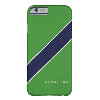 Raya diagonal verde y azul personalizada funda para iPhone 6 barely there