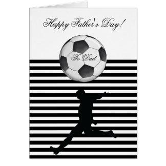 Raya feliz de la foto del balón de fútbol del día tarjeta de felicitación