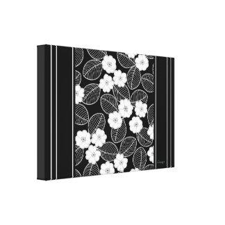 Raya floral del damasco blanco negro del ajuste de impresion de lienzo