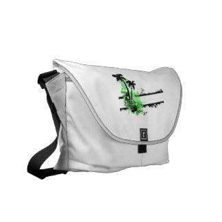 Raya floral negra verde de dos palmas w bolsa de mensajería