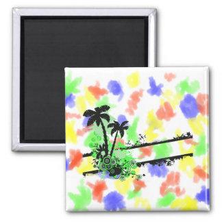 Raya floral negra verde de dos palmas w imán cuadrado