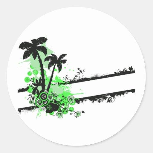 Raya floral negra verde de dos palmas w pegatinas redondas