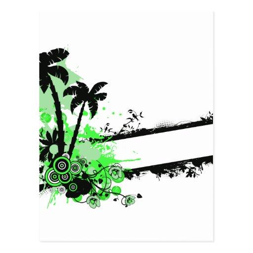 Raya floral negra verde de dos palmas w postales