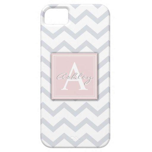 Raya gris y blanca de Chevron personalizada iPhone 5 Carcasa