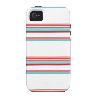 Raya horizontal azul roja vibe iPhone 4 carcasas
