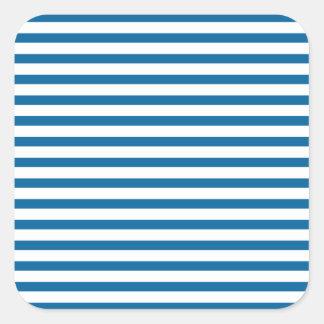 Raya horizontal azul y blanca pegatinas cuadradases