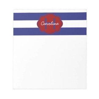 Raya horizontal clásica azul y blanca blocs de papel