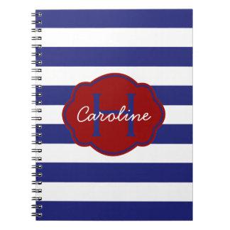 Raya horizontal clásica azul y blanca libretas