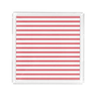 Raya horizontal color de rosa y blanca bandeja cuadrada