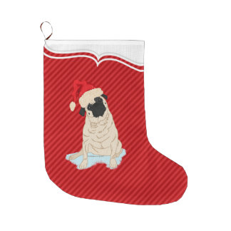 Raya linda del rojo del perro de Papá Noel del Bota Navideña Grande