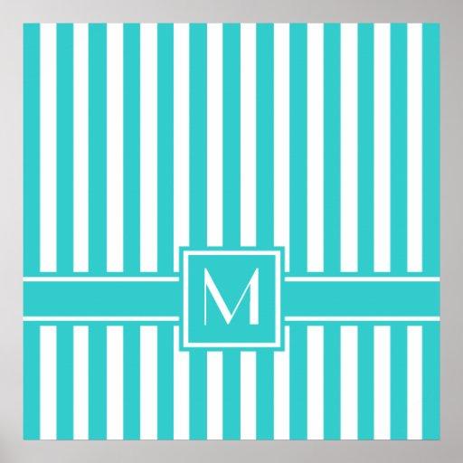 Raya moderna de la turquesa con el monograma impresiones